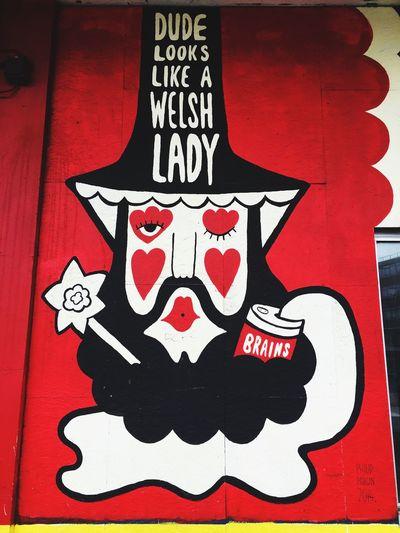 Red Street Art/Graffiti StreetArtEverywhere Cardiff No People Wales Street Art Street Art Cardiff Streetart Welsh Lady Brains  Brainscraftbrewery Brainsandco Beer Welsh