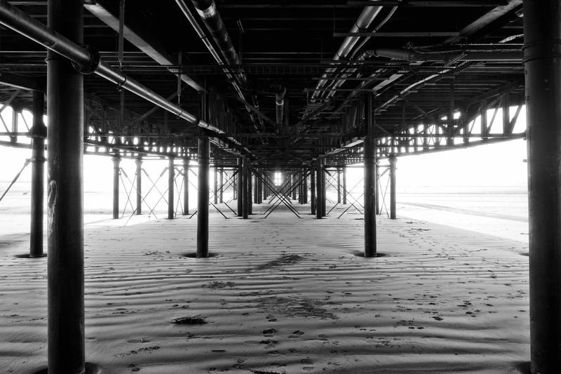 Under the board walk. Black And White Collection  Black And White Board Walk Pier Sand Beach Sand Built Structure Architecture Underneath Sea No People Outdoors
