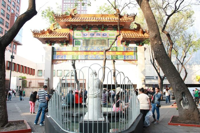 The smallest Chinatown in the world can be found in Mexico City. Celebration of the Chinese New Year 2017. Arch Architecture Building Exterior Chinatown Chinese Culture Chinese New Year 2017 Day Fountain Mexico City Mixture Of Culture Outdoors People Sculpture