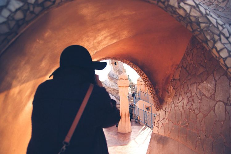 Rear View Of Woman At Park Guell