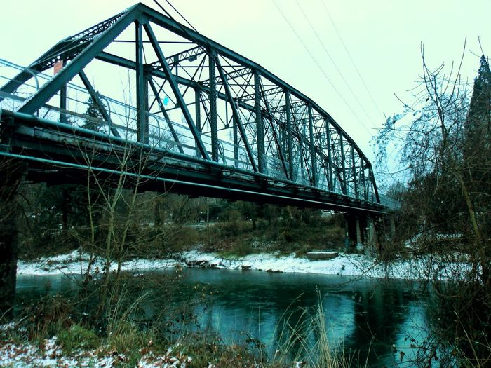Cross Park Crossing The Bridge Clackamas River Snow ❄