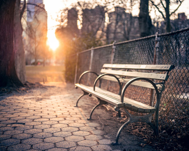 Empty bench in park during sunset