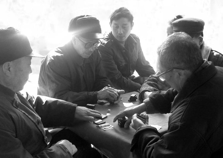 Black And White Chinese Chip Game Chinese Friendship Hunan China Leisure Activity Men Old Men Rural Togetherness Pai Gow Bonding