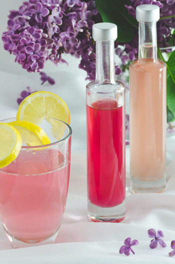 Beverage Close-up Cold Drink Freshness Lemon Lilac Flower Non-alcoholic Beverage Pink Purple Refreshment Spring