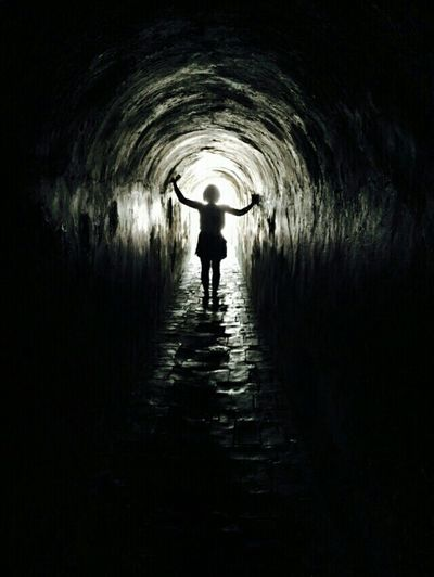 We find light in our own darkness Cartagena Darkness Tunnel Black Light Girl Model Loneliness Shadow