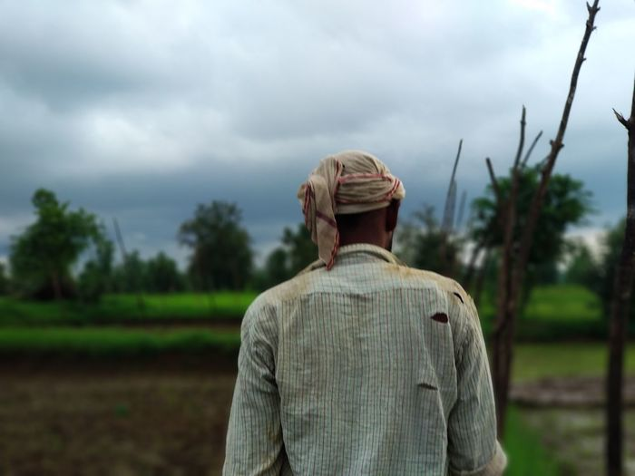 Rural Scene Agriculture Tree Human Back Rear View Sky Cloud - Sky Agricultural Field Farmland 2018 In One Photograph