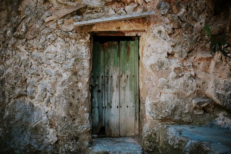 Closed door of historic building