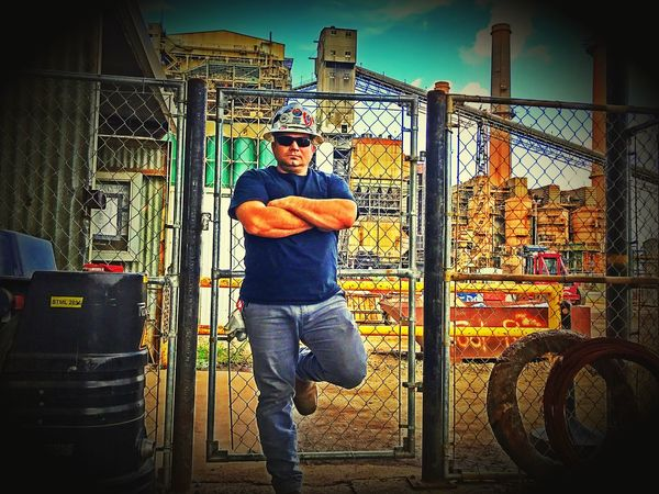 Holding it down at the power plant today Mid Adult Sunglasses Mid Adult Men Real People One Person Full Length Looking At Camera Standing Built Structure Day Portrait Architecture Outdoors People 3XSPUnity EyeEm Best Shots Check This Out ThatsMe Thats Me  Building Exterior Christian Kustomz Occupation Hardhat  Coal Burning Power Plant
