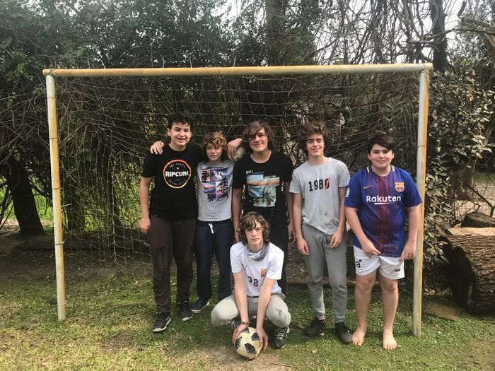 The soccer team is ready Group Of People Child Males  Standing Front View Boys Childhood Grass Full Length Happiness Plant Sport Leisure Activity Casual Clothing Real People Looking At Camera Portrait Team Sport Togetherness
