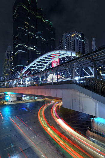 Bangkok at night Architecture Built Structure City Building Exterior Long Exposure Night Transportation Speed Light Trail Motion Office Building Exterior Bridge Bridge - Man Made Structure Blurred Motion Skyscraper Street No People Tall - High Modern Outdoors Cityscape Bangkok Thailand Chong Nonsi