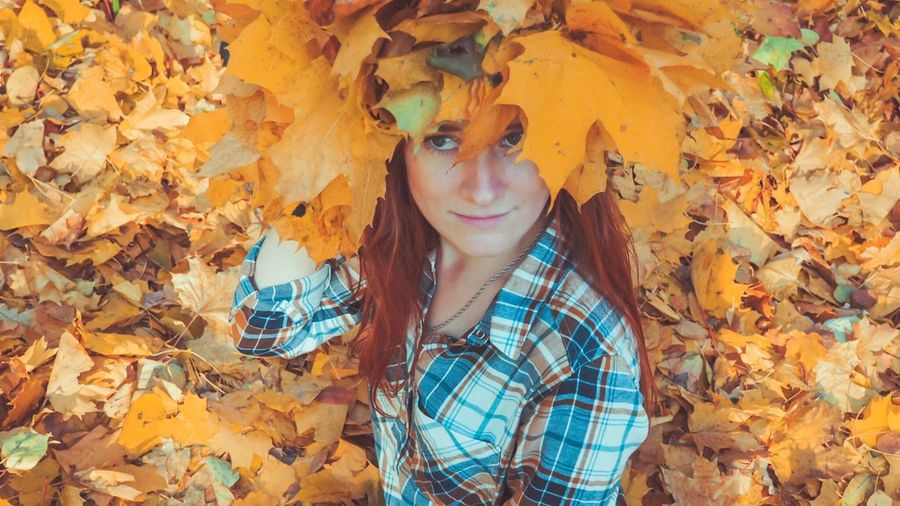 Miss of Autumn Yellow Autumn One Person Young Women Young Adult Looking At Camera Autumn Casual Clothing Portrait Front View Hairstyle Plant Part