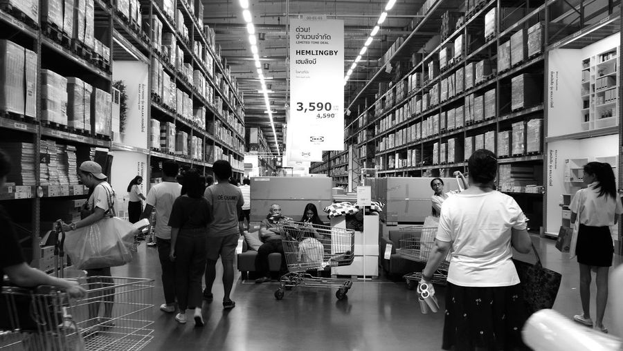 IKEA Bangkok Thailand. Bangna Day Blackandwhite Black & White Shopping Mall Shopping Time People Furnitures Indoors  Business Cargo