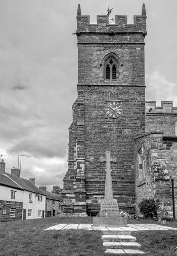 War Memorial, Church of Saint George the Martyr, Wootton, Northamptonshire War Memorial Northamptonshire Black And White Blackandwhite Monochrome FUJIFILM X-T2 Wootton Village Rural Church Tower Architecture Building Exterior Built Structure Clock Tower