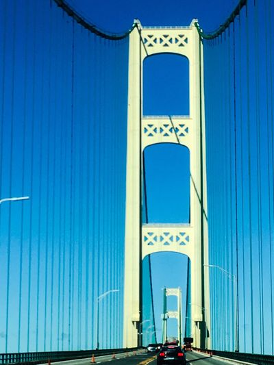 Mackinaw Bridge Bridge - Man Made Structure Bridge Built Structure Architecture Building Exterior Sky Blue No People Building Travel Destinations Transportation Clear Sky Low Angle View City Travel