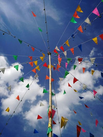 Multi Colored Celebration Hanging Sky Cloud - Sky Bunting Day No People Outdoors Annual Event Flag HuaweiP9 Nature Thailand Photos Thailand