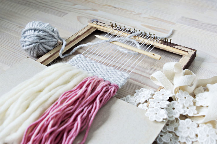 Decoration Crafting Hobby Pastel Color Handcrafted Craft Space Lovely Art And Craft Working Process Panno EyeEm Selects Wool Textile High Angle View Industry Textile Industry Close-up Ball Of Wool Loom Weaving Woven Fiber Cotton Knitting