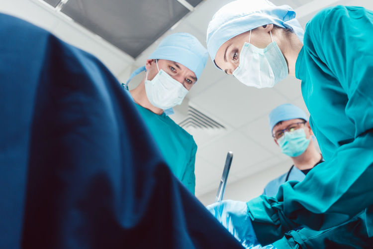 Low angle view of doctors working in hospital