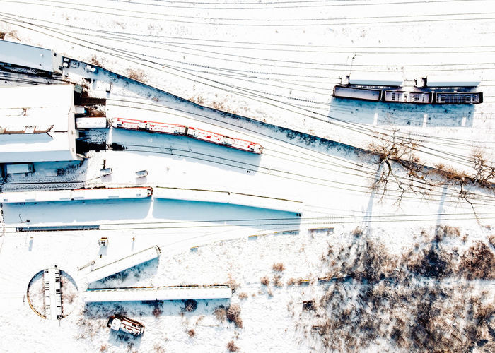 High angle view of frozen boat during winter