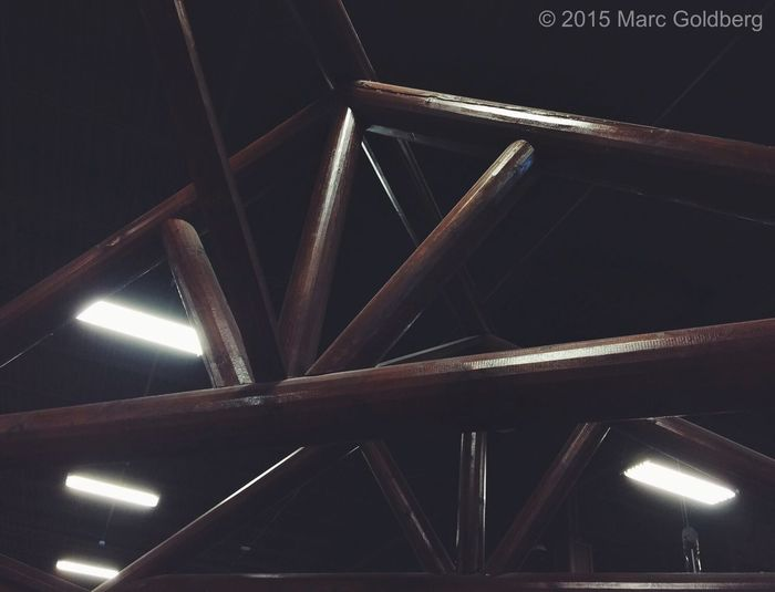 """Lights and Lines,"" Gander Mountain, New Hartford, New York, 4/4/15 Light And Shadow Lines Intersectinglines Celing Crisscross Wood Beams Lights"