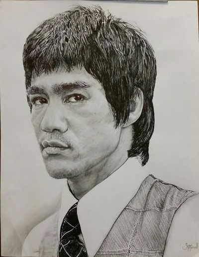 Don't let the shirt and tie fool you..... Brucelee Brucelee Art Gallery Myartwork Drawing ArtWork Blackandwhite Sketch BruceLee✋ Bruce Lee