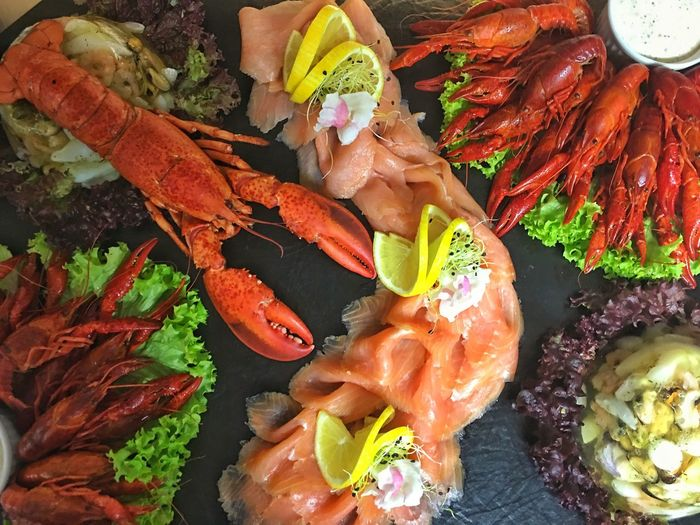 Big plate with lobster , shrimps and salmon Plate Sea Food Salmon Shrimps Lobster Lobsters BIG Seafood Food Food And Drink Freshness High Angle View No People Food Stories