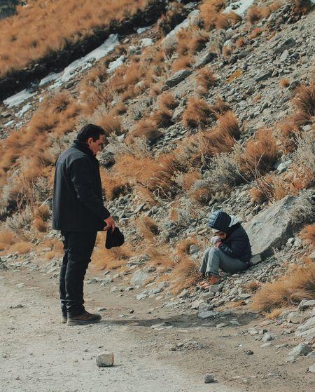 Family Dad Father & Son Father Son Boy Walking Traveling Cold Mountains Nevado De Toluca Mexico