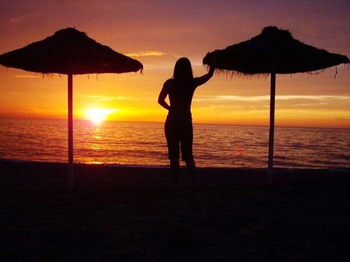 Sunrise on Malaga beach in Spain 2008