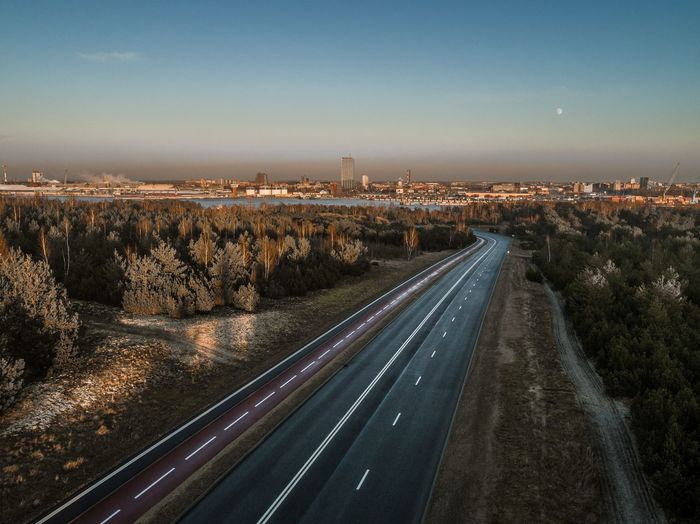 Aerial view of road against sky