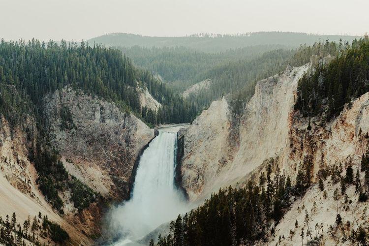 Waterfall Yellowstone National Park Yellowstone Grandcanyonoftheyellowstone Landscape_photography Water Tree Mountain Sky Landscape Rocky Mountains Geology Dramatic Landscape Canyon Natural Landmark Power In Nature Physical Geography