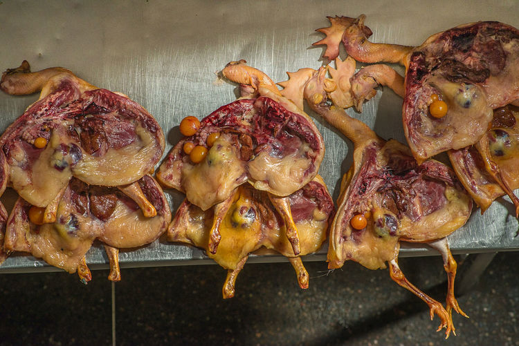 High Angle View Of Chicken Meat On Table