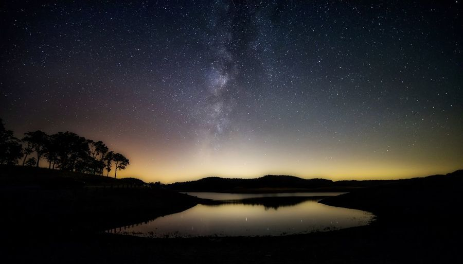 Camping Peace Tranquility Astronomy Beauty In Nature Existance Galaxy Idyllic Lake Milky Way Milkyway Nature Night No People Scenics - Nature Silhouette Sky Solitude Space Star Star - Space Star Field Tranquil Scene Tranquility Waterfront