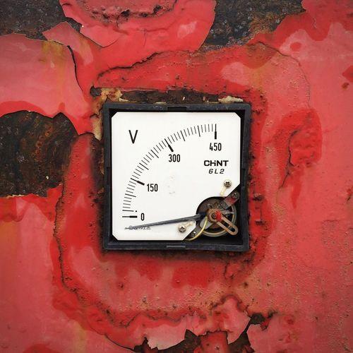 Close-up of obsolete pressure gauge