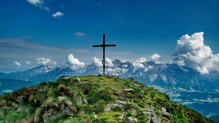 Beauty In Nature Blue Cloud - Sky Cross Crucifix Day Easter Forgiveness Green Color Mountain Nature No People Outdoors Religion Scenics Sky Spirituality Tranquil Scene