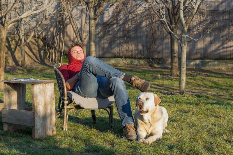 Portrait of man with dog sitting on seat