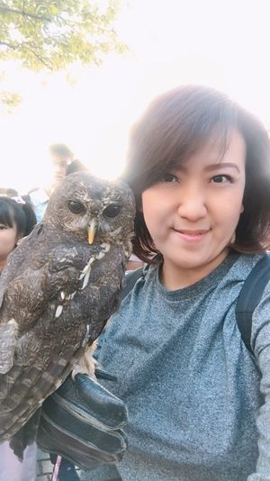 Self portrait Bird EyrEmNewHere Owl Portrait Smiling Real People Day Looking At Camera Outdoors One Animal