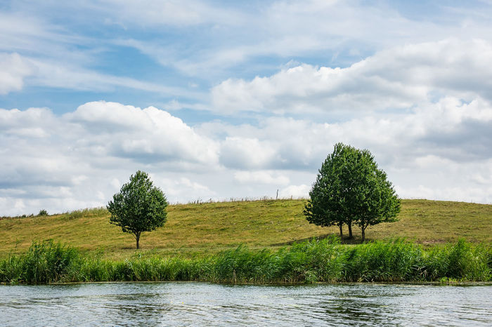 Landscape on the river Peene in Loitz, Germany. Holiday Mecklenburg-Vorpommern Peene Sky And Clouds Beauty In Nature Clouds And Sky Day Germany Growth Journey Landscape Loitz Nature No People Outdoors River Sky Tourism Travel Destinations Tree Vacation Water
