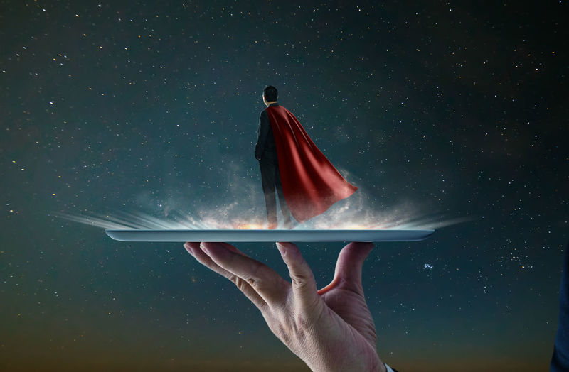 Astronomy Digital Composite Flag Flying Hand Holding Human Body Part Human Hand Motion Nature Night One Person Real People Red Sky Space Star - Space Studio Shot Women
