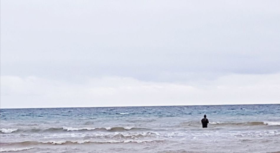Man In The Sea Sea Beach Horizon Over Water Wave One Person Sky Surfing