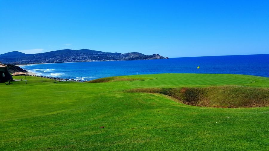 Sea Blue Clear Sky Landscape Beach Outdoors Golf No People Beauty In Nature Day Nature Water Horizon Over Water Golf Course Mountain Tabarka,Tunisia