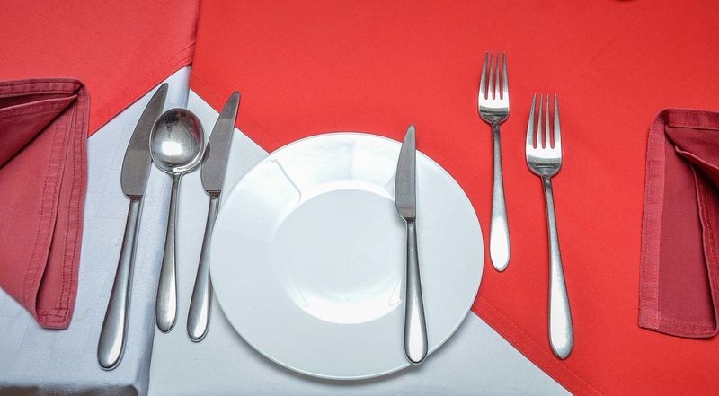 Meal Table EyeEm Selects Fork Table Knife Silverware  Red Plate Place Setting Silver - Metal Food And Drink No People Napkin Table Indoors  Tablecloth Close-up Day