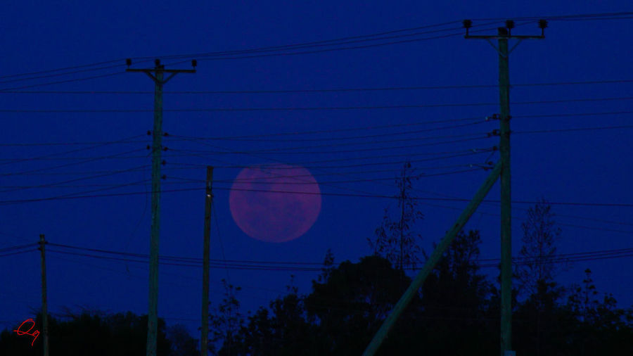 captured during the January 2018 super blood moon.... 10 Moon Blue Dusk Low Angle View Night Power Line  Sky Supermoon Tall Ten