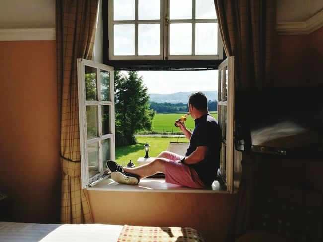 Window sunshine Window One Person Indoors  One Man Only Relaxation