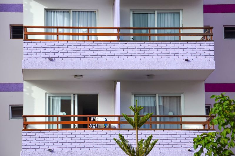 Violet Architecture Building Exterior Built Structure House Window Residential Building No People Day Outdoors Balconies Violet Purple Colorful Façade Facade Detail Stripes Summer Feelings  The Graphic City