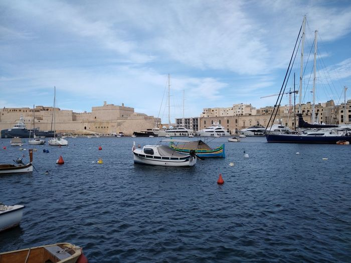 Malta Mediterranean  Mediterranean Sea Marina Senglea Nautical Vessel Water Transportation Mode Of Transportation Architecture Building Exterior Built Structure Nature Moored Waterfront No People Sea Sailboat Sky Day