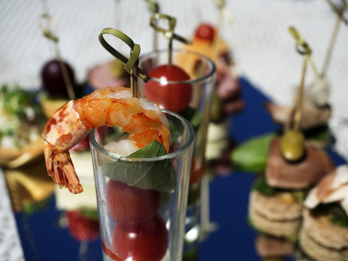 Close-up of canape in glass