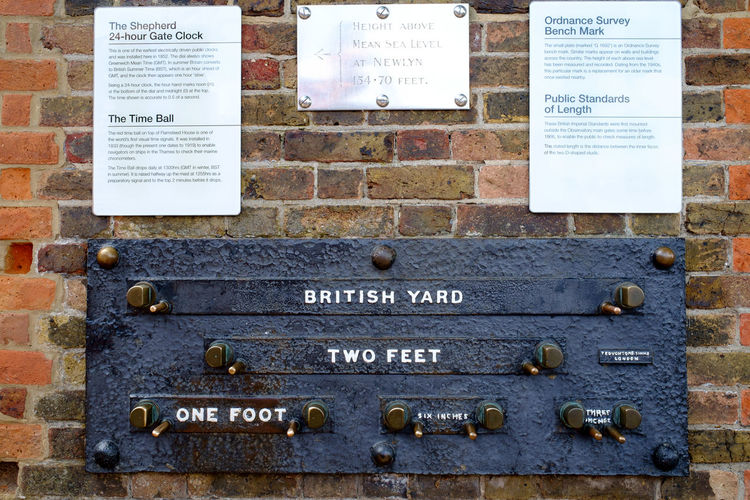 Imperial London Metric United Kingdom British Yard Close-up Communication Day Handwriting  Imperial System Information Instructions Measure Message Nameplate No People One Foot Outdoors Placard Text Western Script