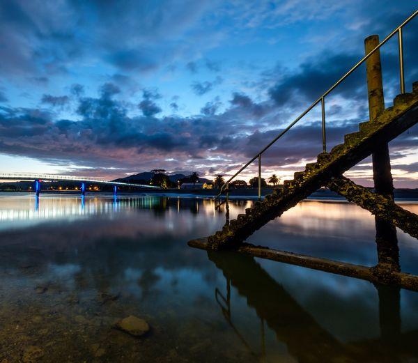 Raglan Harbour in New Zealand. Raglan Nz Blue Hour Reflection Cloud - Sky Night Sky Water Outdoors Bridge - Man Made Structure First Eyeem Photo