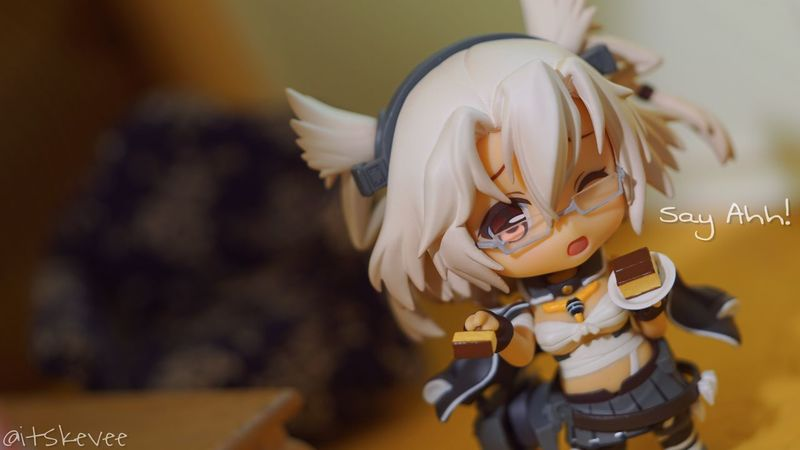 Musashi: Say ahh! Cake Focus On Foreground Day Indoors  Figurine  Toy Photography Portrait Toy Toyphotography Sony A6000 Anime Nendoroid EyeEm Best Shots Eye4photography  Caring MUSASHI Kancolle Kantaicollection Darkskin Tanned