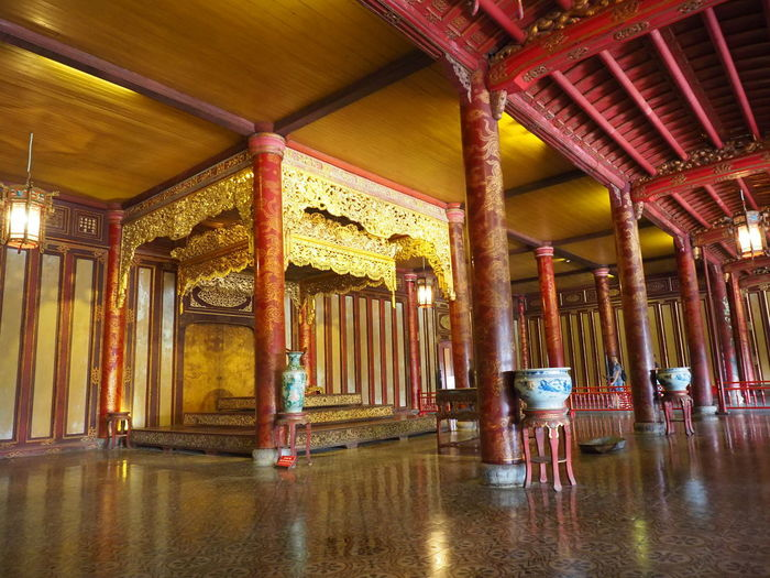 Imperial City. Throne Palace. Architecture Built Structure No People Ornate Empty Wood - Material Architectural Column Ceiling