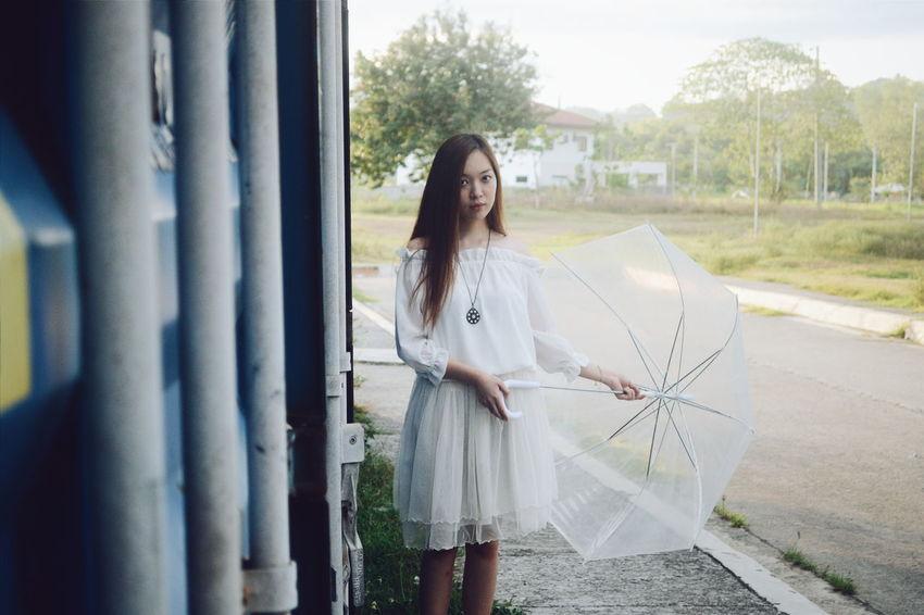 Something. Asiangirl Women Of EyeEm Portraiture PhilippinesVSCO NikonD3100 Asianlook Week On Eyeem Whitedress Cinematography Woman Umbrella Feels